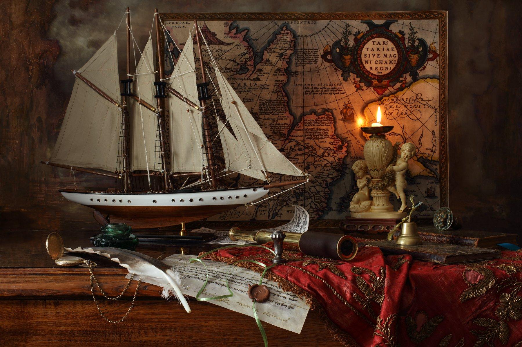 карта, парусник, корабль, свеча, Андрей Морозов