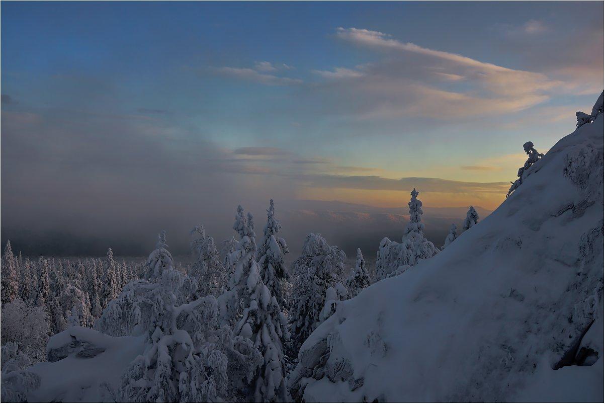 закат,туман,зима,горы,деревья, Кондратьев Алексей