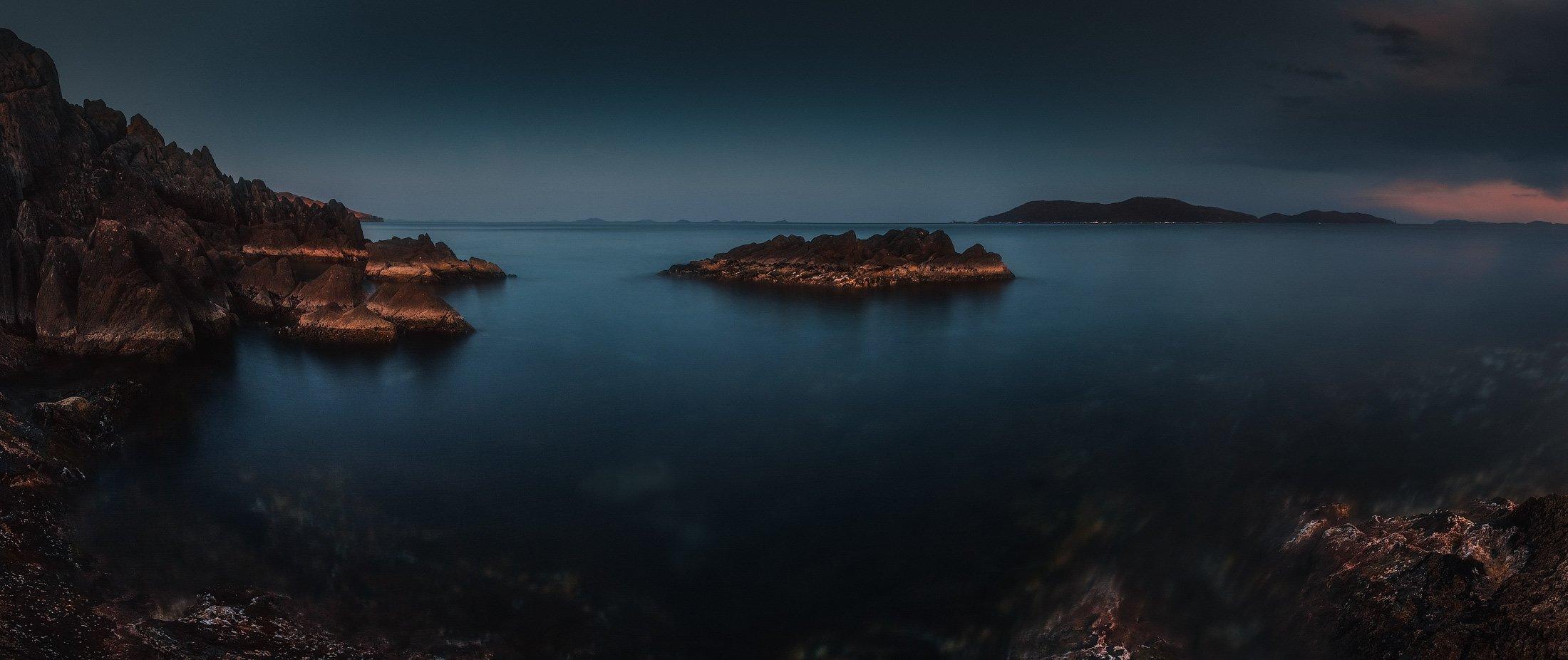 панорама, сумерки, весна, море, скалы, камни, Андрей Кровлин