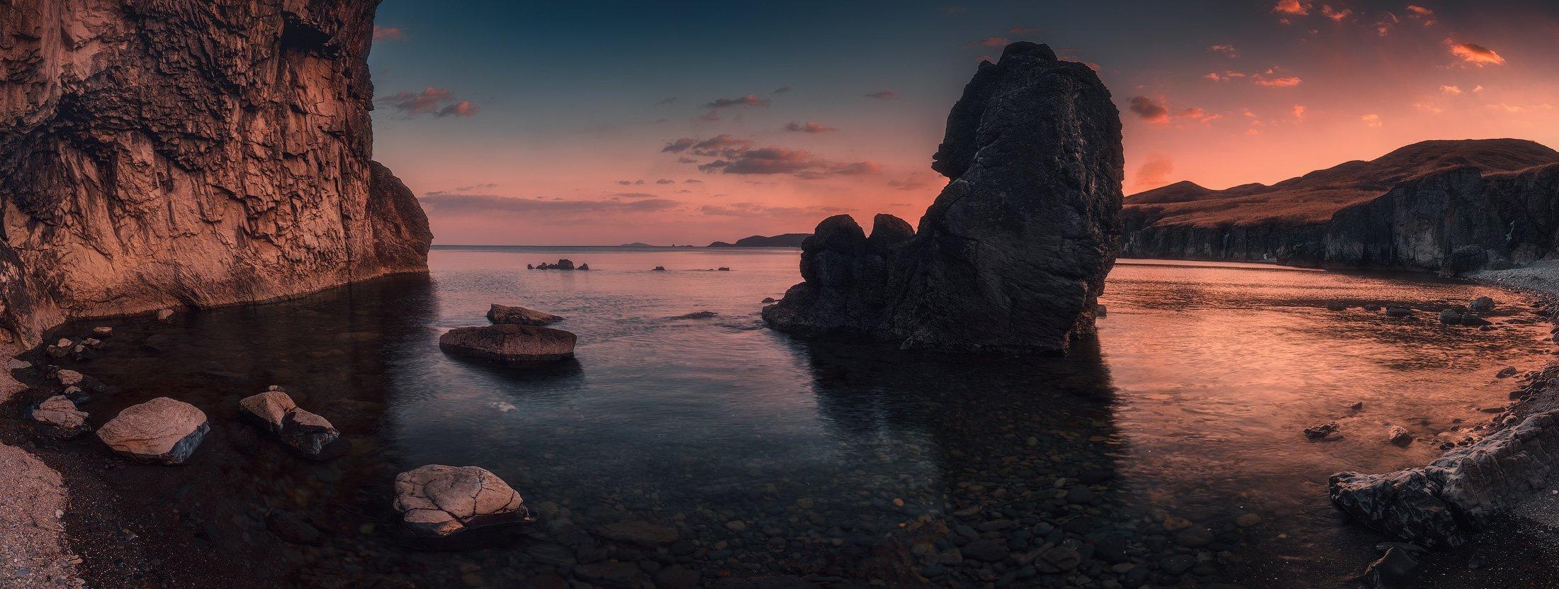 панорама, вечер, весна, море, скалы, Андрей Кровлин