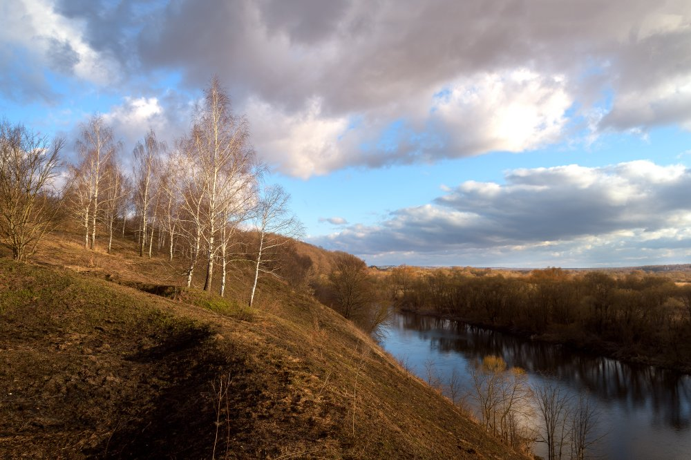 пейзаж,природа,март,березы,утро,река,рассвет, Юлия Лаптева