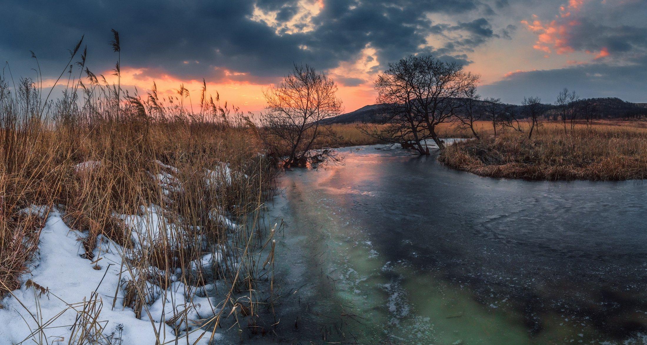 панорама, весна,вечер, закат, деревья, Андрей Кровлин