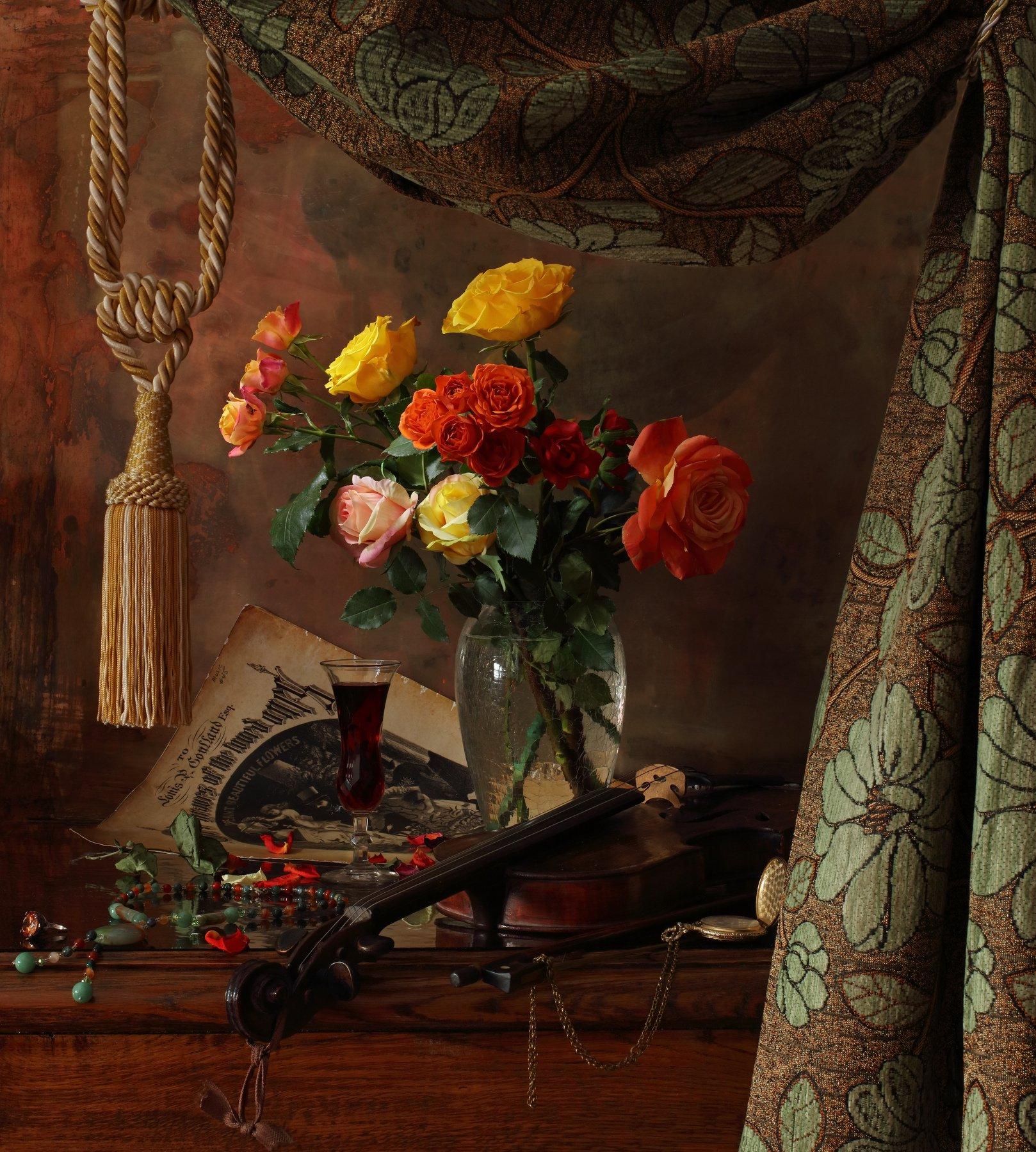 скрипка, музыка, цветы, розы, Андрей Морозов