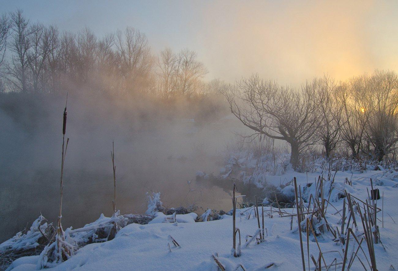 зима холод мороз снег иней озеро горячка, Михаил Агеев