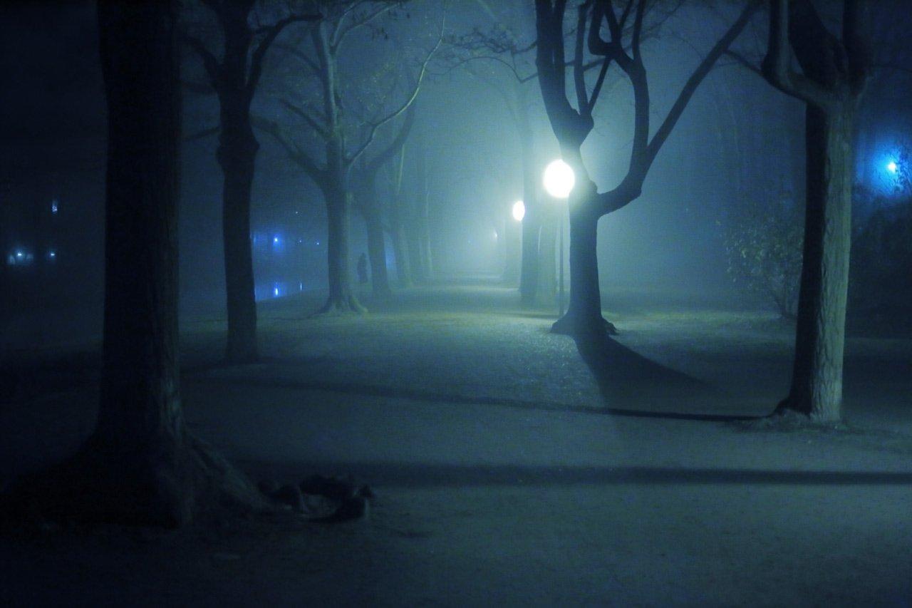парк, ночь, фонари, свет, тень,, Виктор Климкин