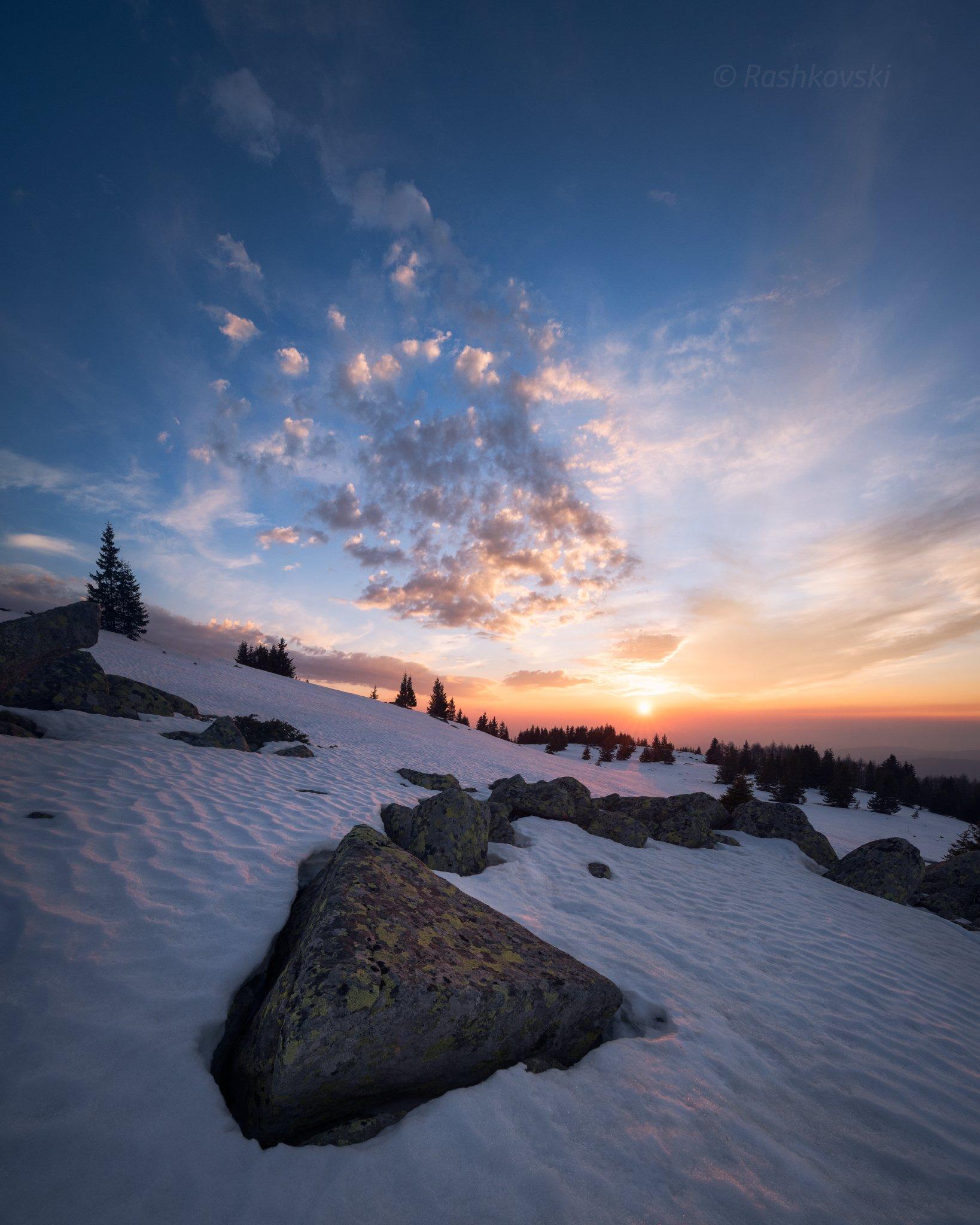 winter, snow, sun, mountain, sunset, Емил Рашковски