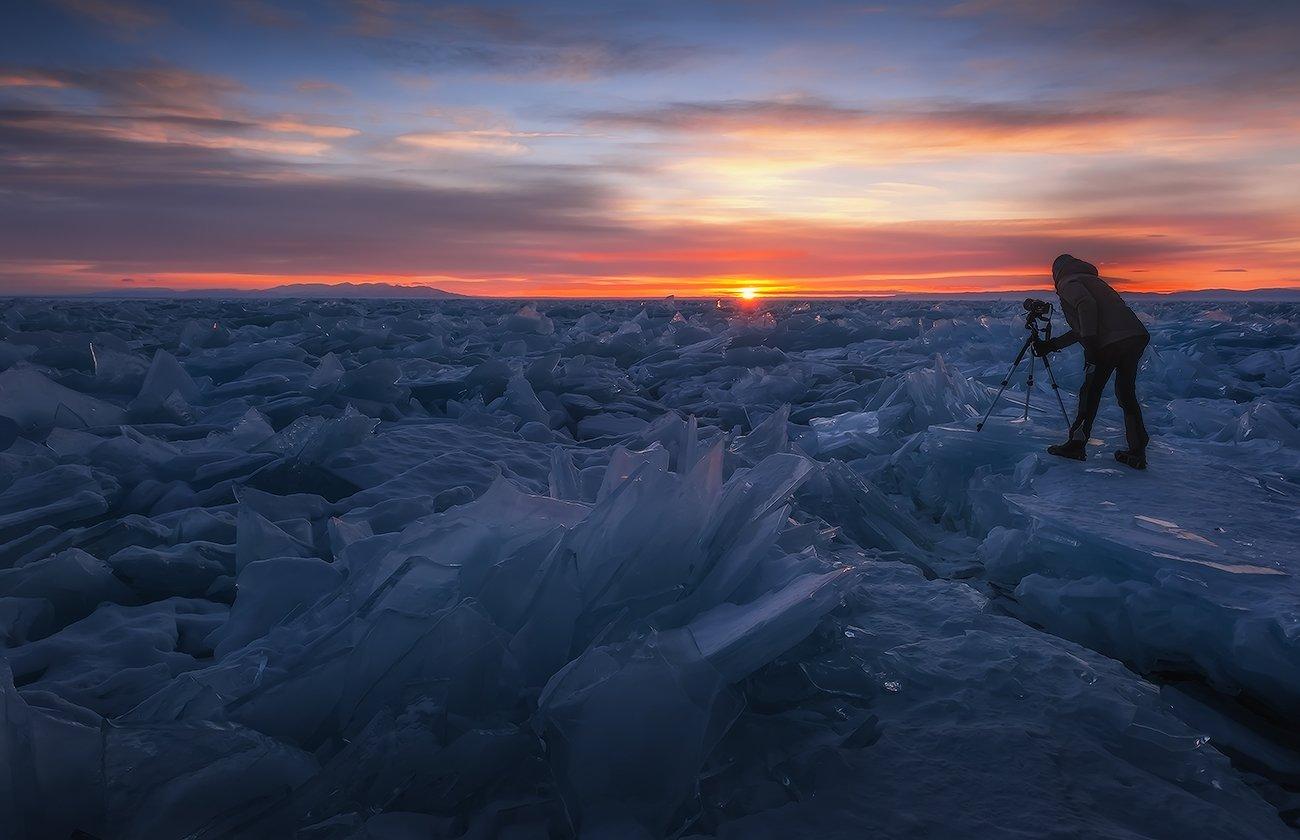 байкал, рассвет, лёд, Константин Пинигин