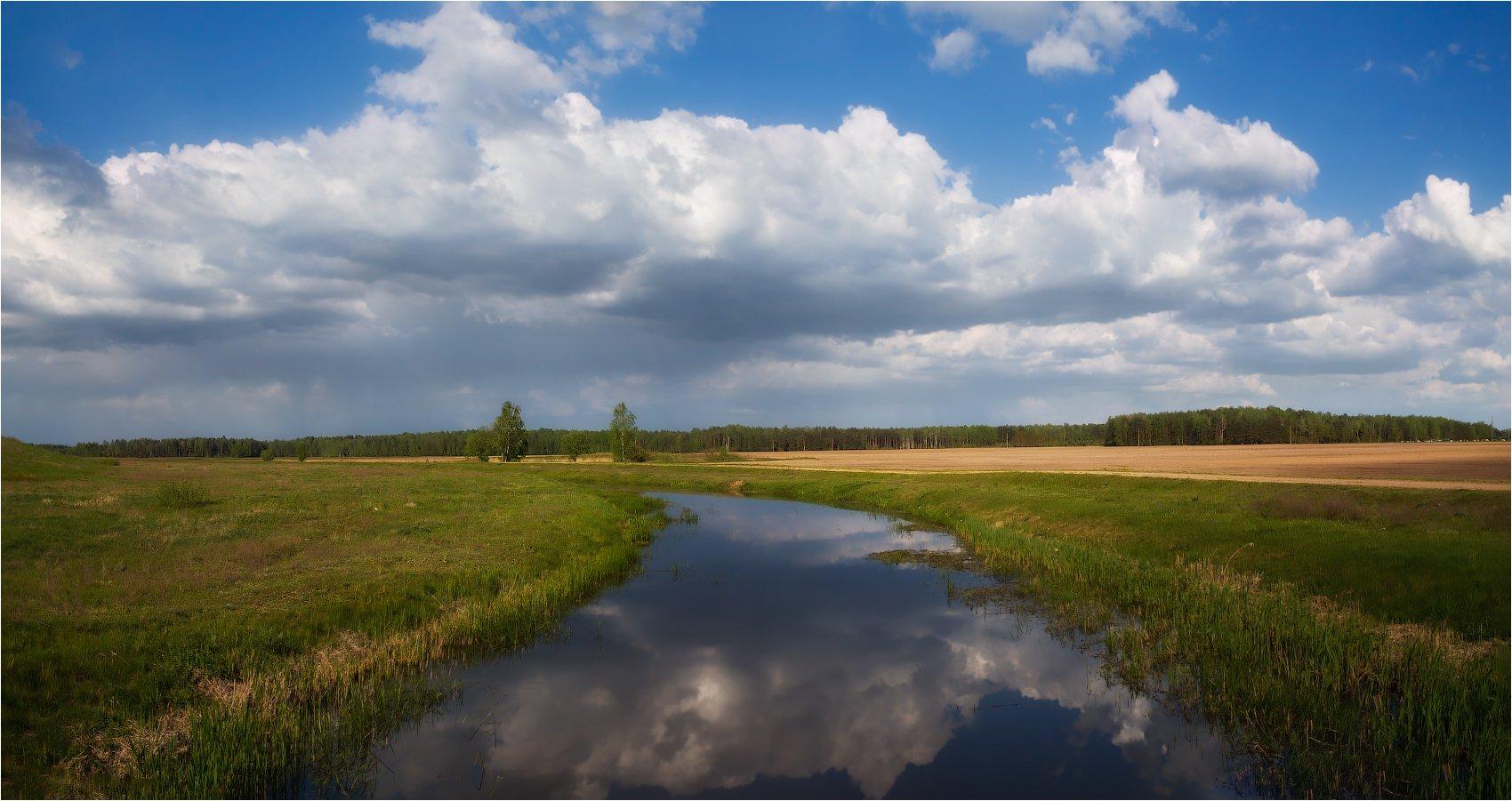 река, весна, небо,, Сергей Шабуневич