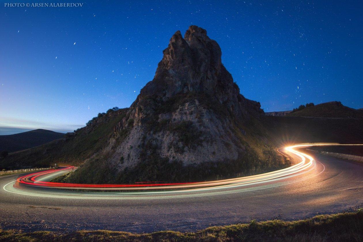 горы, предгорья, хребет, вершины, пики, осень ночь,ночная съёмка, длинная выдержка, треки, скорость, скалы, холмы, долина, облака, путешествия, туризм, карачаево-черкесия, кабардино-балкария, северный кавказ, АрсенАл