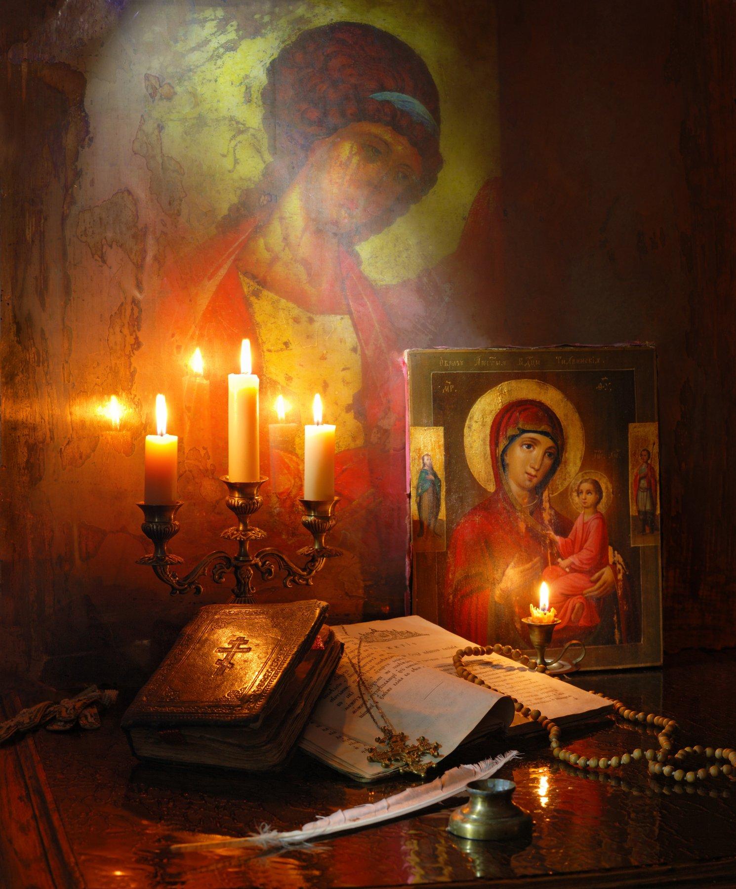 икона, ангел, книги, религия, свечи, Андрей Морозов