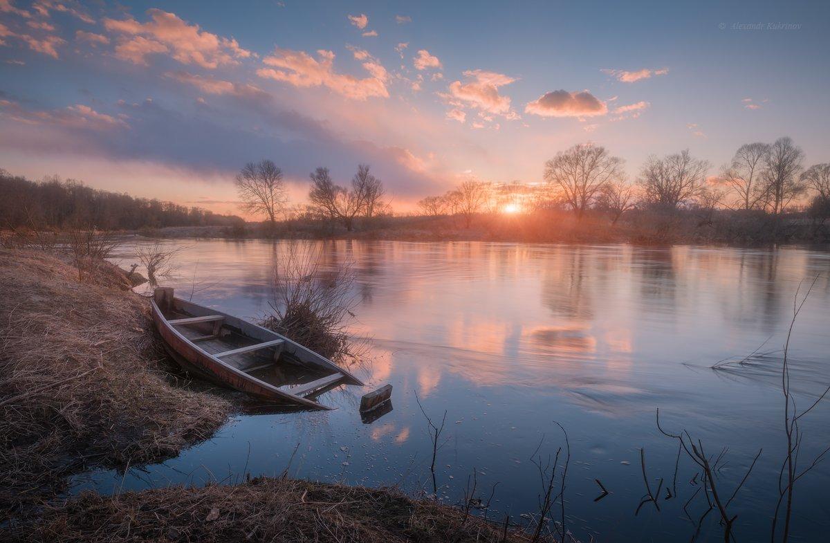 пейзаж, весна,закат,река,угра, Александр Кукринов