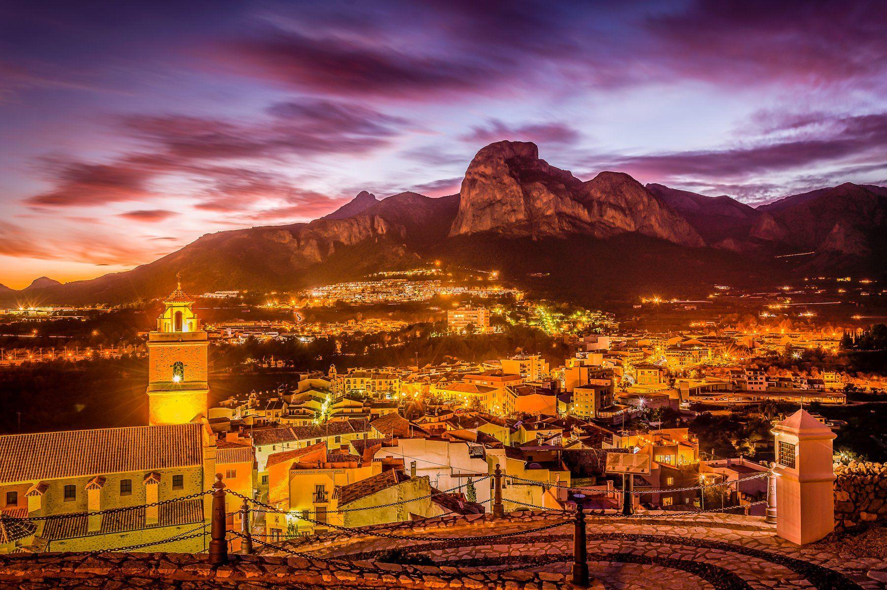 polop de la marina, alicante, spain, night city, city and mountains, Виктор