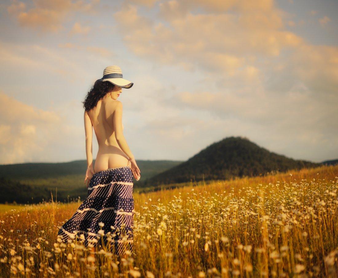 лето, вечер, поле, девушка, Вьюшкин Игорь