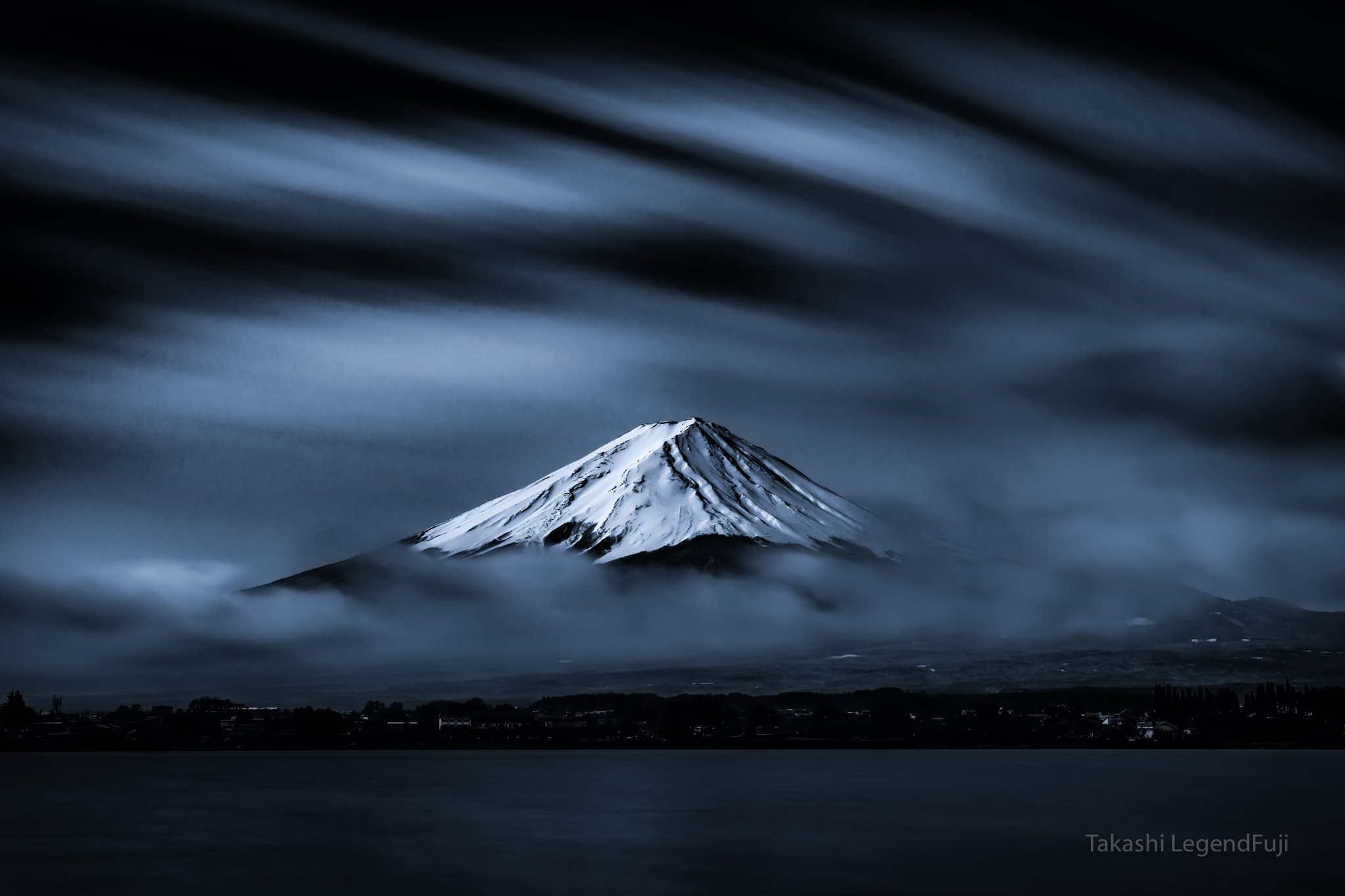 Fuji,mountains,landscapes,clouds,snow,beautiful,amazing,lake,blue,sky,Japan,, Takashi