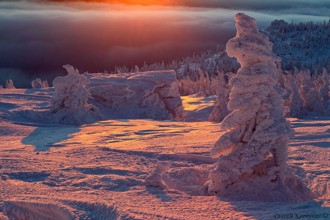 таганай, южный урал, восход, снег, Сергей Карпухин