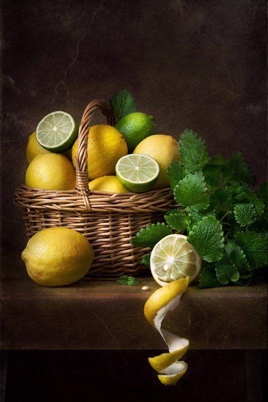 натюрморт, лимоны, лайм, Курочкина Диана