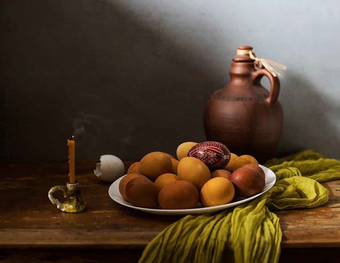 пасха, яйца, свеча, кувшин, Карачкова Татьяна