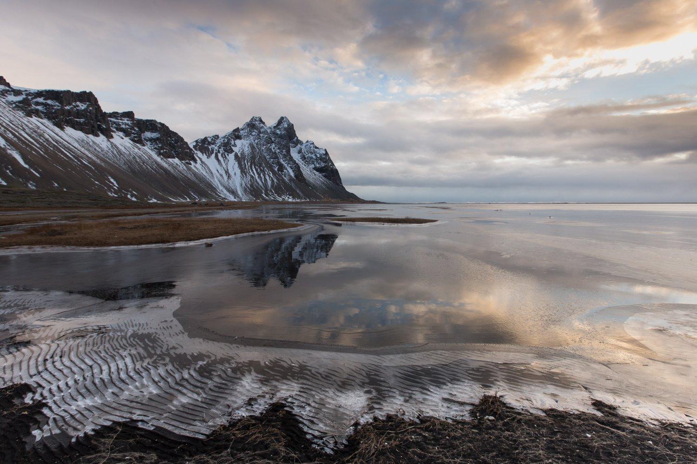 stokksnes , исландия, лёд, утро, вода, отражение ,гора , снег, зыбь,рябь, атлантический океан, Ирина Назарова
