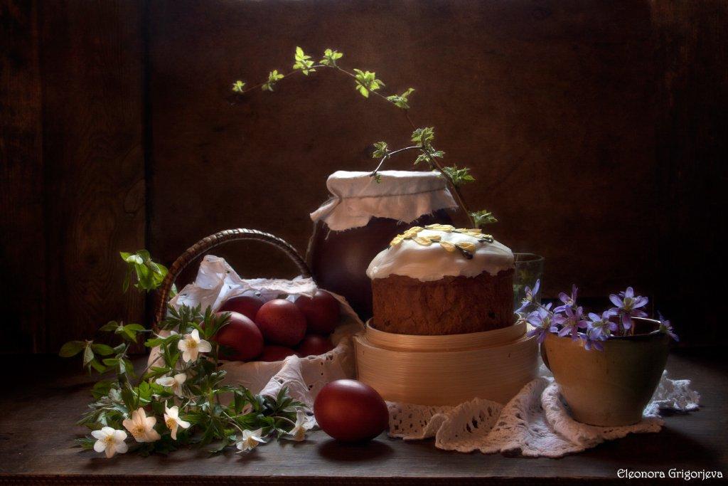 пасха, кулич, яйца, крашенки, первоцветы, натюрморт, Eleonora Grigorjeva