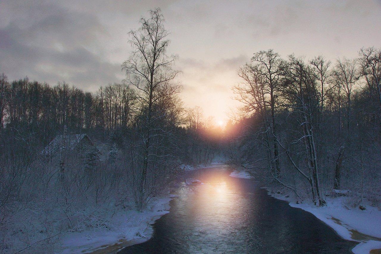 закат, река, тихая, ленинградская область, Петр Косых