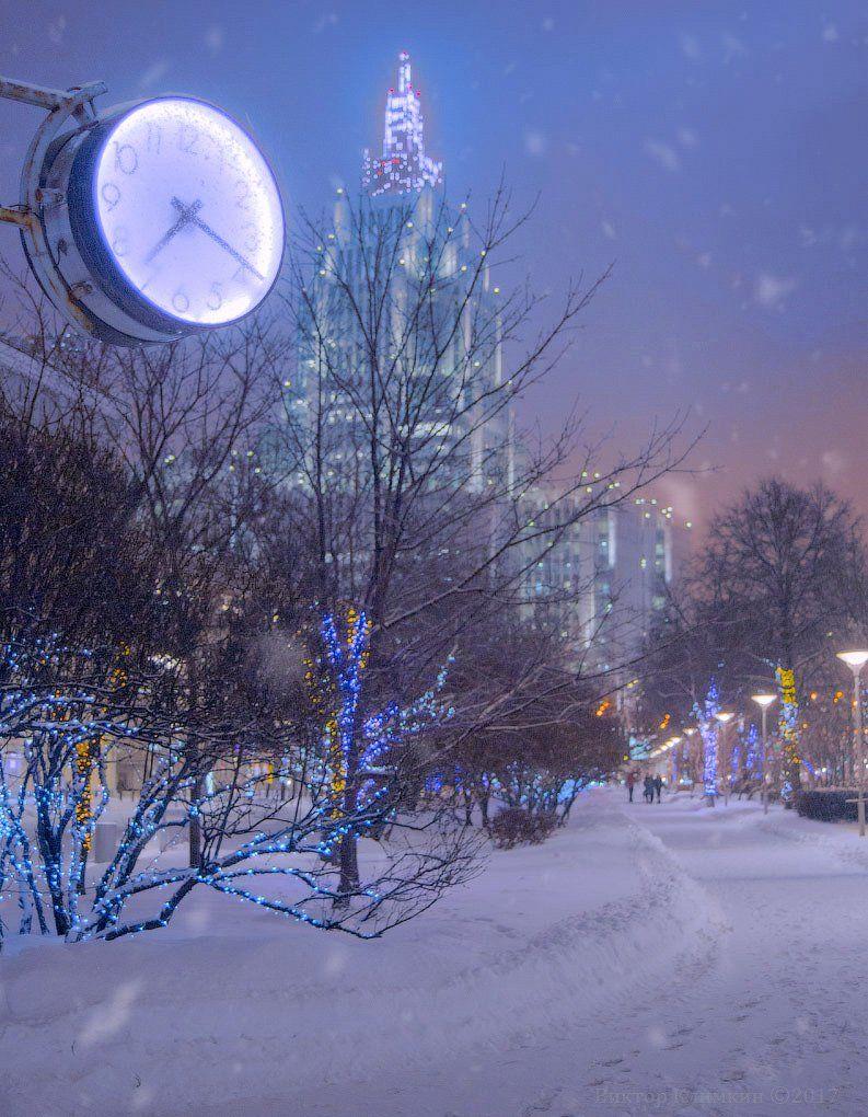 москва, зима, вечер, снег, снегопад, часы, высотка, Виктор Климкин