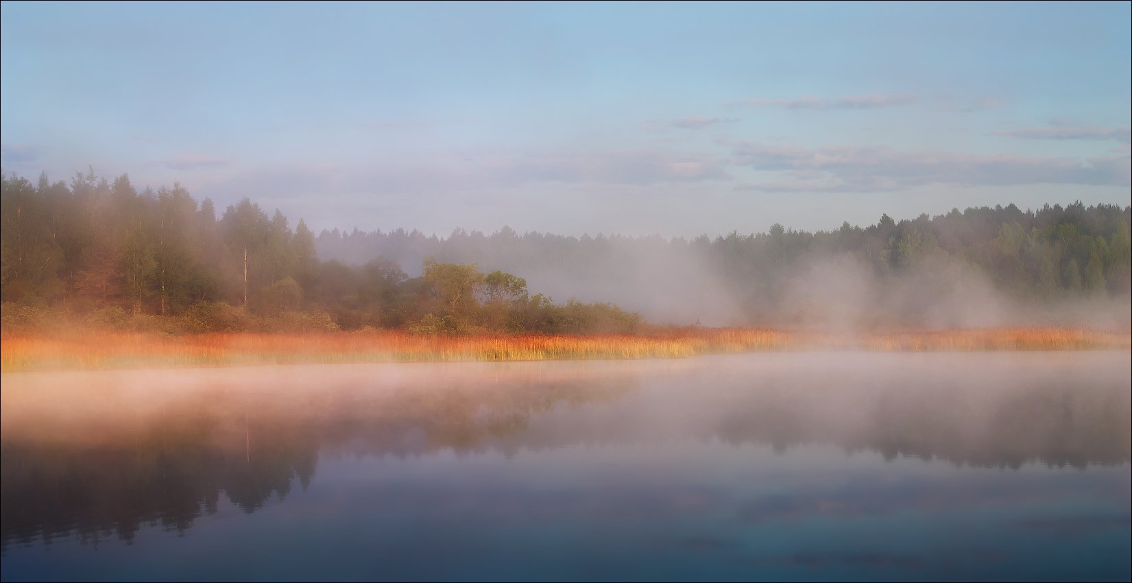 река, рассвет, дымка, туман,, Сергей Шабуневич