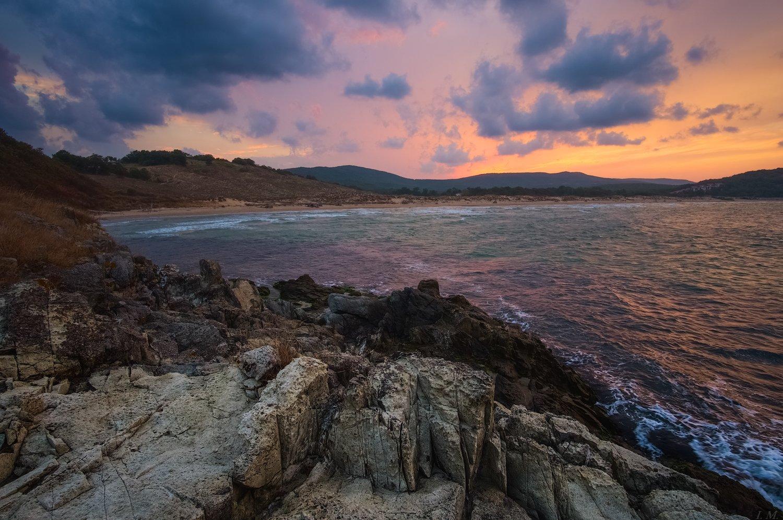 Bulgaria, cloud, evening, light, sea, sunset, Болгария, вечер, дюны, закат, скалы, Черное море, шторм, black sea, storm, Dunes, rocks, Arkutino, Аркутино, I'M