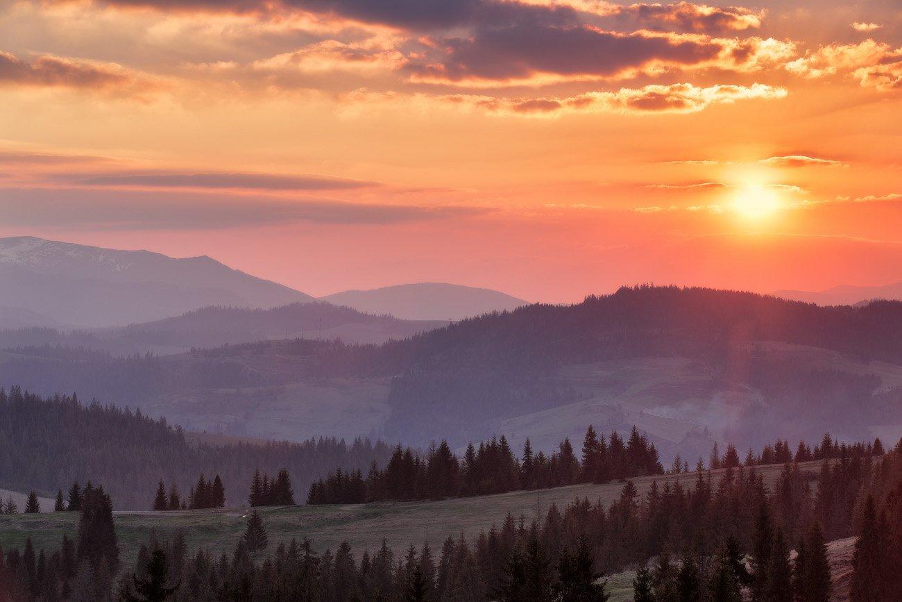 апрель, весна, вечер, горы, закарпатье, закат, карпаты, Вейзе Максим