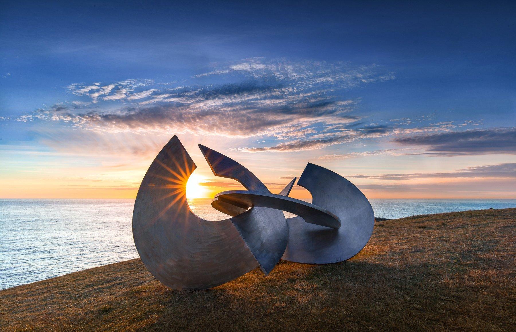 sunrise, dawn, landscape, sky, bondi beach, sculpture, sea, sunstar, Derek Zhang