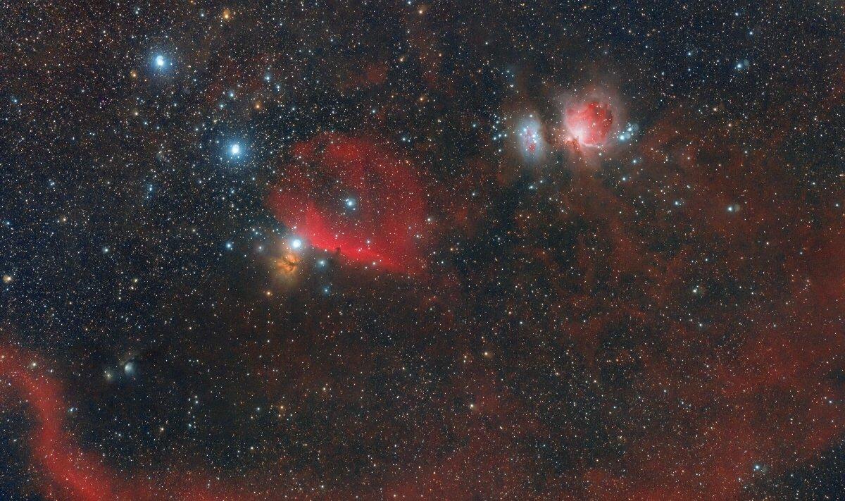Космос, Орион, Петля Барнард, M42, M43, М78 (NGC 2068), Flame NGC 2024, Alnilam, Alnitak, Mintaka, Борис Богданов