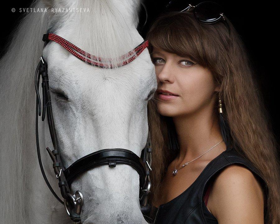 horse, girl, horse & girl, portrait, портрет, лошадь, человек и лошадь, Svetlana Ryazantseva