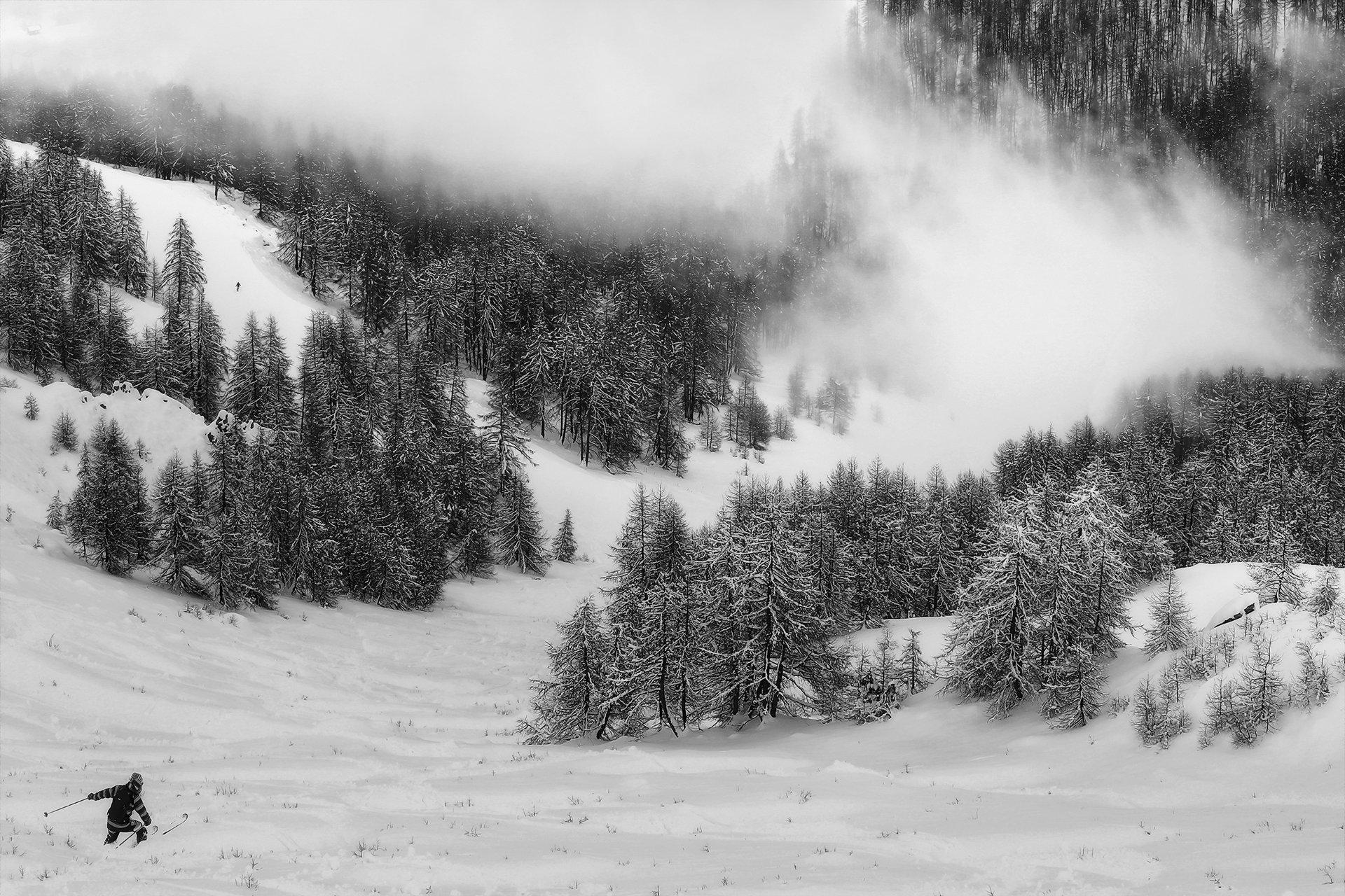 горные лыжи, горнолыжный курорт, горы, туман, альпы, франция, лыжник, снег, зима, Алла Соколова