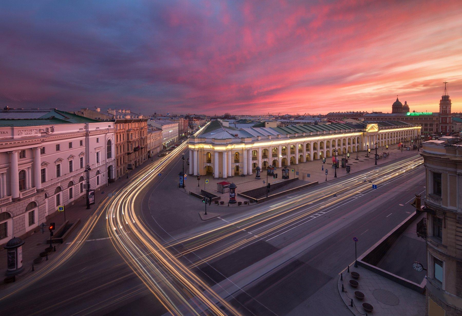 Санкт-Петербург, город, пейзаж, крыша, закат, выдержка, Urban Exploration, Голубев Алексей