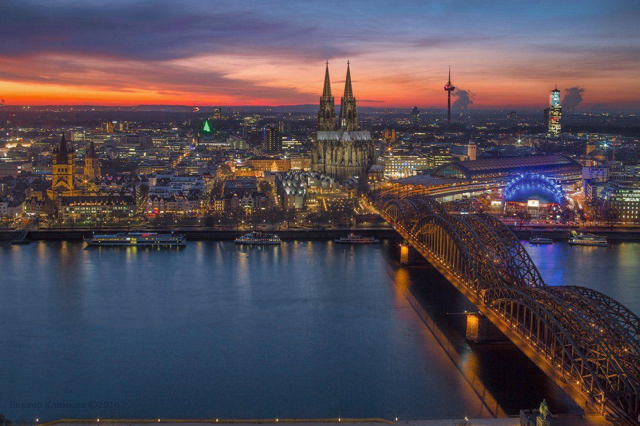 германия, кёльн, рейн, вечер, город, река, köln, deutschland, rein, kölner dom, кёльнский собор, Виктор Климкин