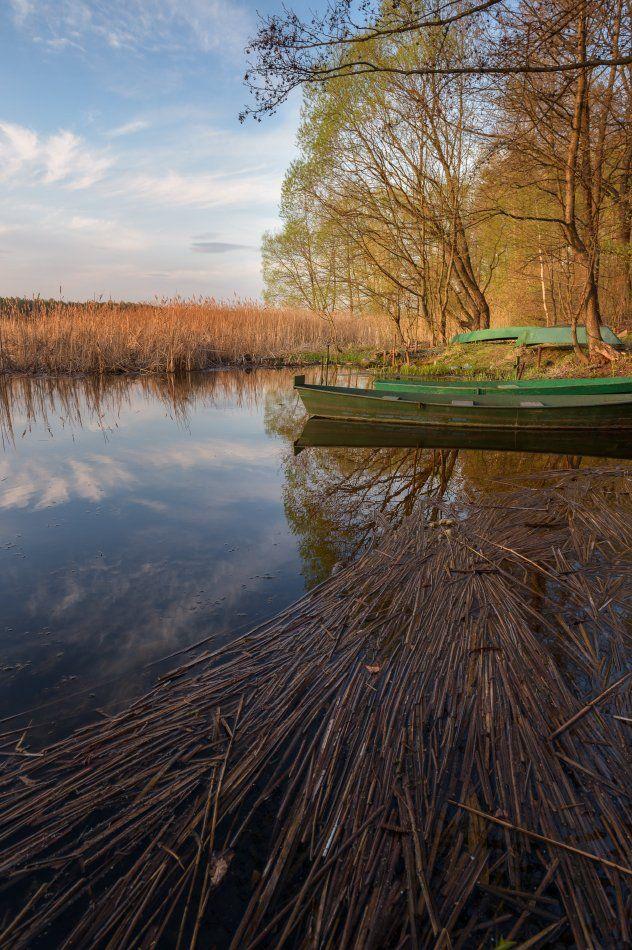 пейзаж,природа,весна,закат,вечер,отражение,облака,деревья,лодки, Юлия Лаптева