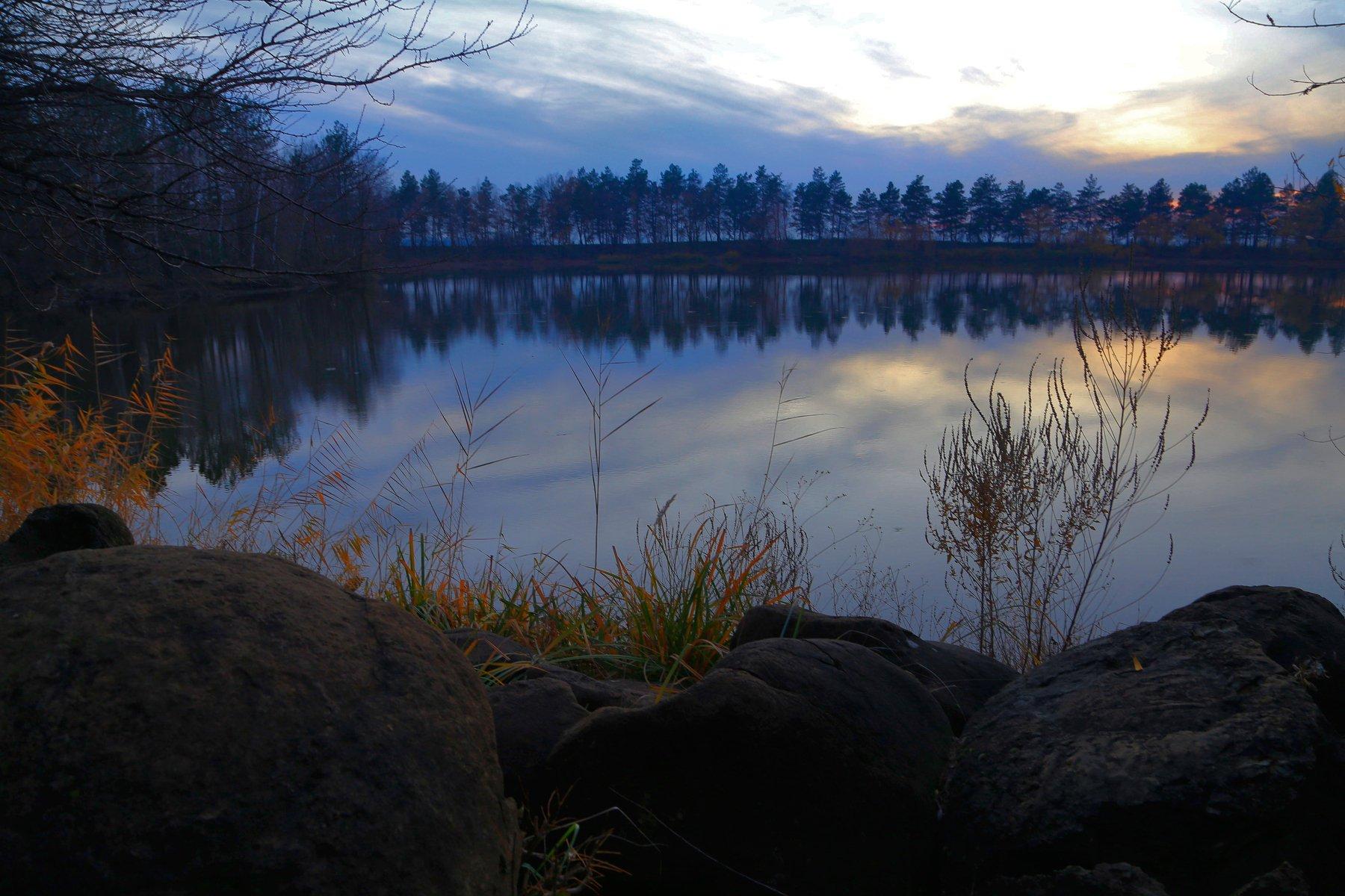 гончарка, озеро, закат, камни, Алексей Рыльский