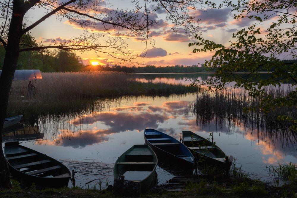 пейзаж,природа,лодки,закат,вечер,рыбак,май,весна,облака, Юлия Лаптева