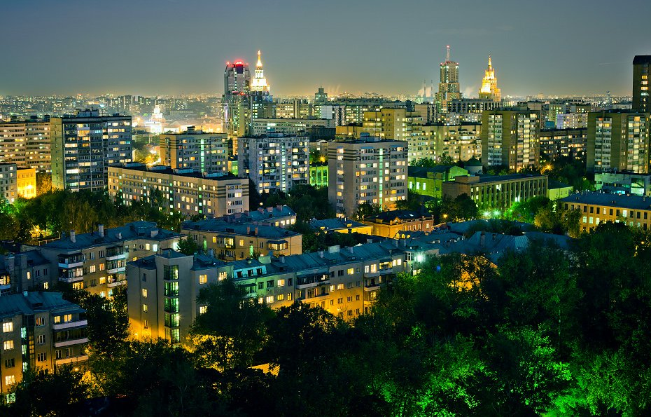 крыша, крыши, город, москва, ночь, Kremchik