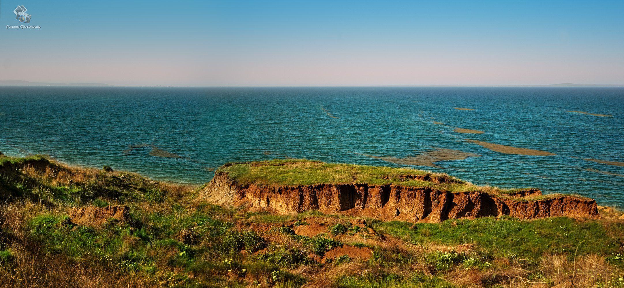 пейзаж, море, берег, холм, таманский залив, станица атамань, трава, земля, горизонт, природа, Галя