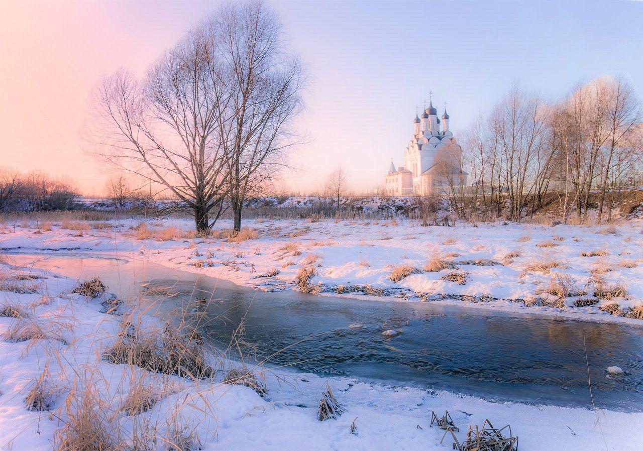река, храм, вечер, зима, Виктор Климкин