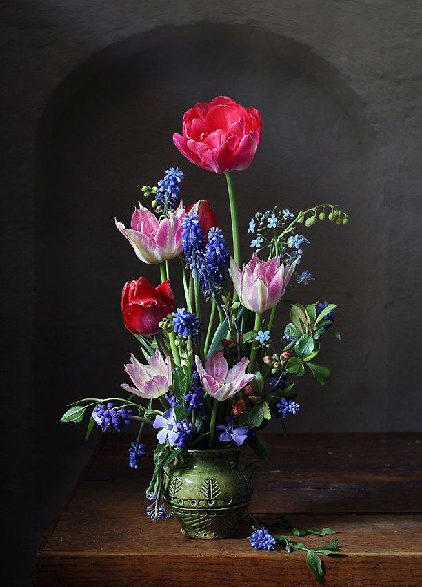 букет, весна, тюльпаны, ландыши, баквинок, мускари, Елена Татульян