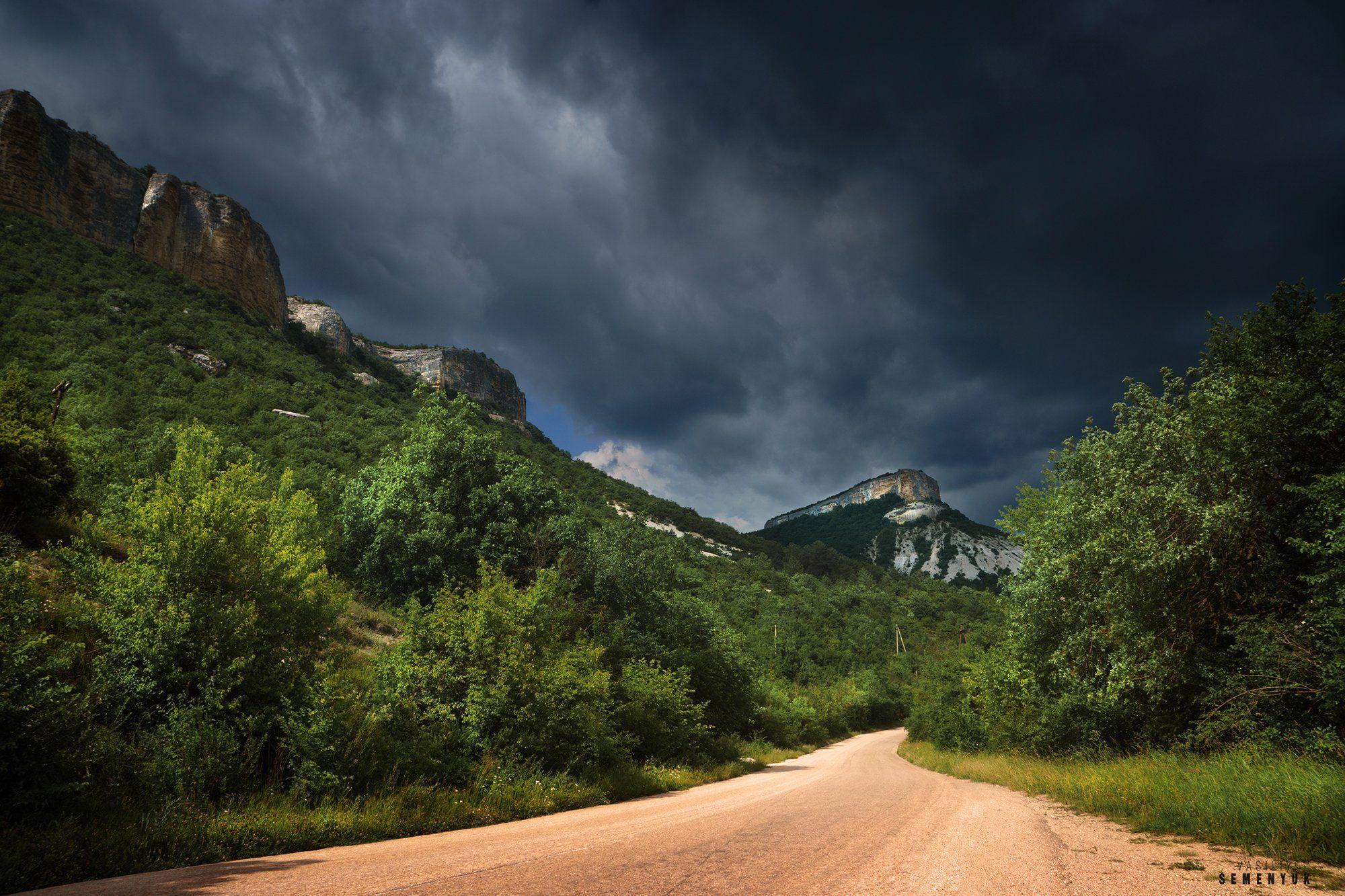 крым, горы, дорога, гроза, облака, кыз-кермен, лучи., Семенюк Василий
