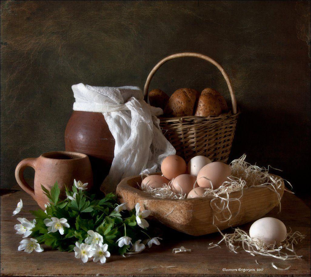 яйца, деревня, молоко, глечик, анемоны, ветреница, весна, кружка, корзина, хлеб, натюрморт, Eleonora Grigorjeva