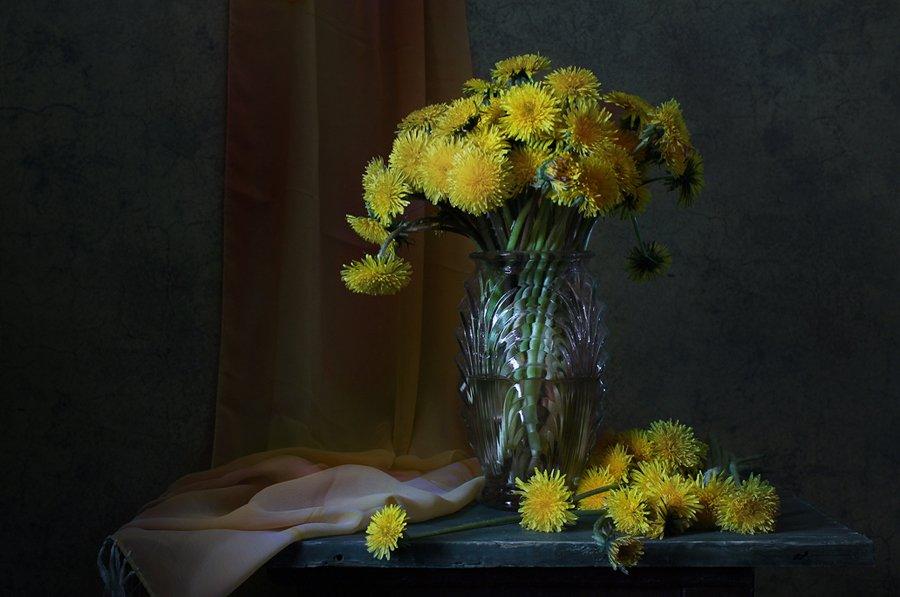 натюрморт, цветы, одуванчики, Курочкина Диана