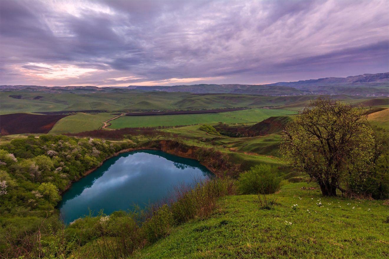 горы, природа, пейзаж, озеро, кавказ, весна, вечер, небо,, Альберт Беляев