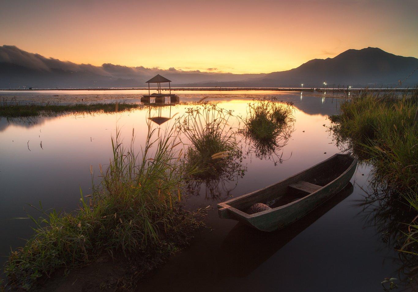 батур, индонезия, бали, закат, лодка, природа, Сергей Луканкин