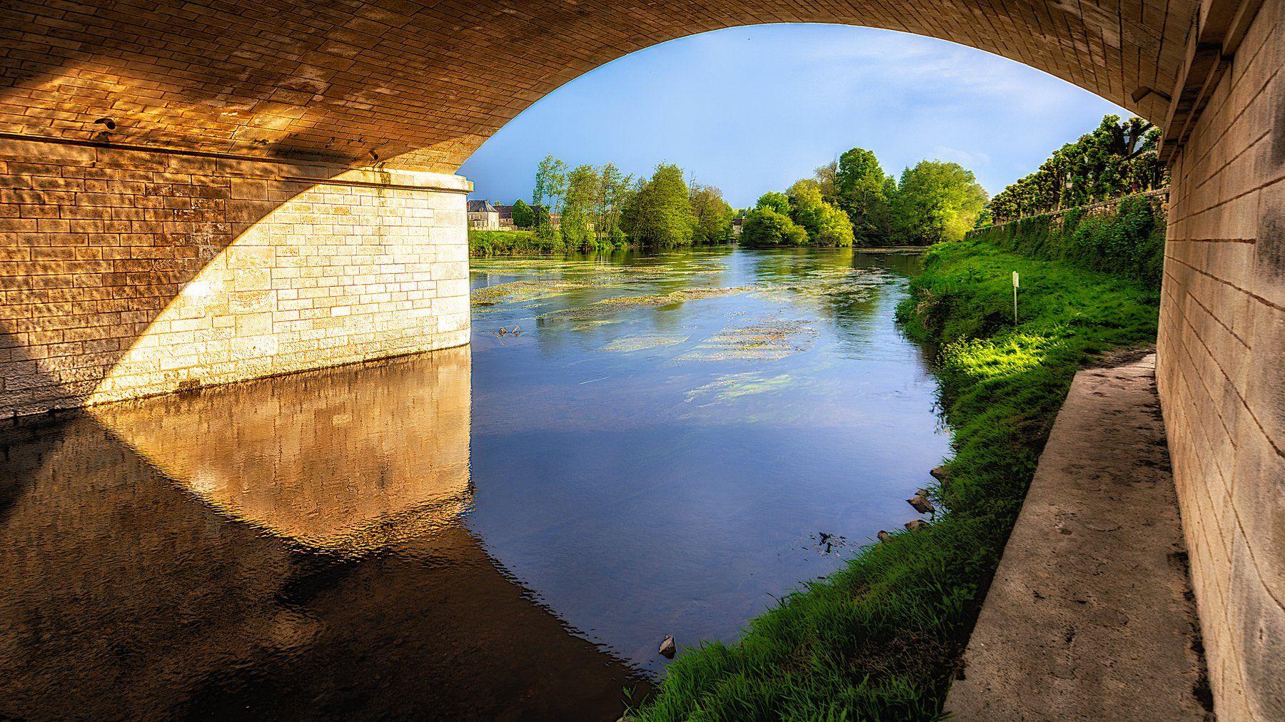 river, bridge, evening, Виктор