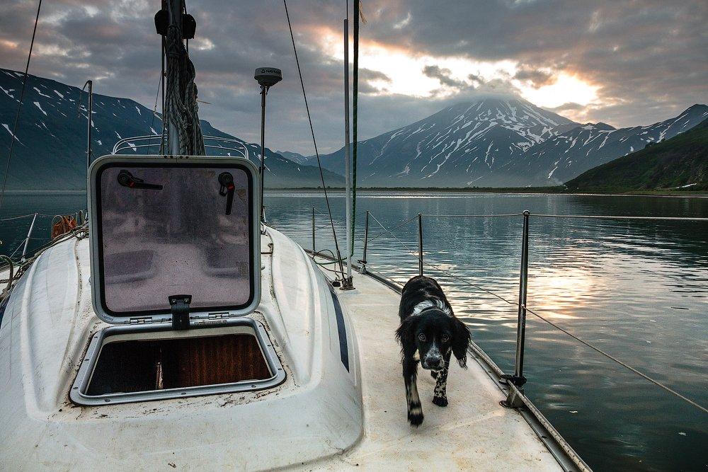 камчатка, яхта, путешествие,вилючинский вулкан, бухта,закат, Слащилина Нина