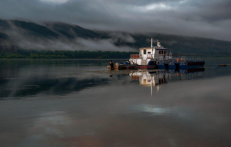 утро, туман, енисей., Марина Фомина.