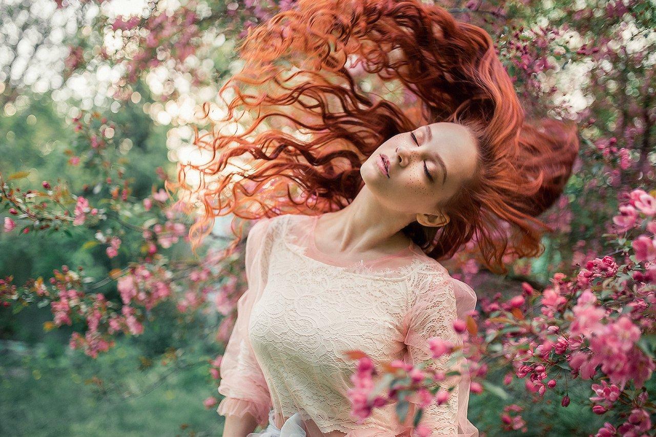 сказка, портрет, закат, цветение, весна, розовое, рыжая, Александра Савенкова